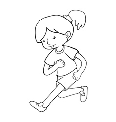 Run girl contour vector image
