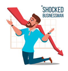 Sad shocked businessman losing money vector