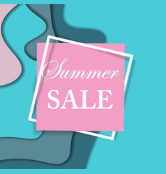 sale square banner paper cut design summer sale vector image