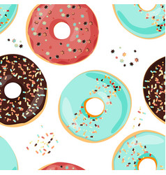 Seamless colorful donut pattern sweet cartoon vector