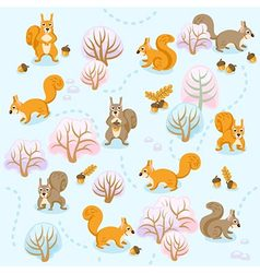 Seamless pattern of winter forest with squirrels b vector image