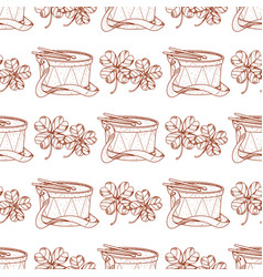 Seamless pattern with clover and drum vector
