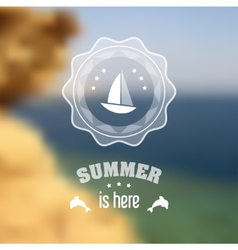 Seaside blurred landscape with summer symbols vector