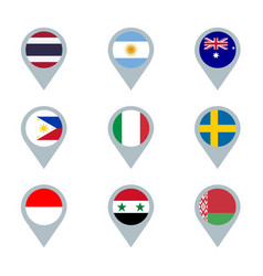 Set map markers with flags vector