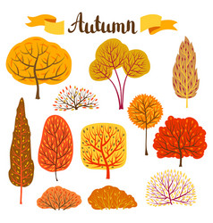 set of autumn stylized trees vector image