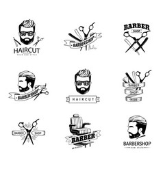 set of retro barber shop emblems vector image