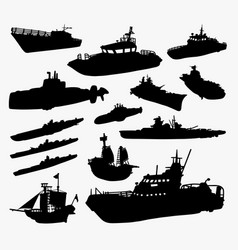 Ship boat and submarine silhouette vector
