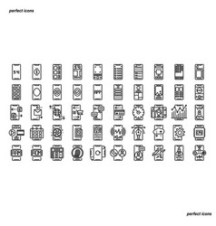 smartphone outline icons perfect pixel vector image