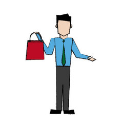 Smiling man holding shopping bag vector