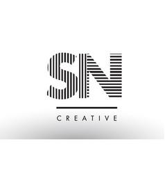 Sn s n black and white lines letter logo design vector