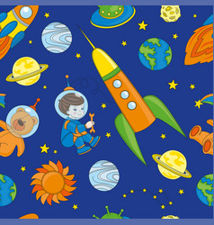 spaceman seamless pattern color vector image
