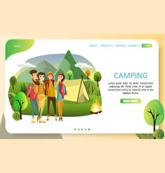 Summer camping landing page website vector