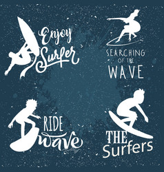 surfing logos white silhouette retro design vector image
