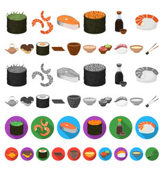 Sushi and seasoning cartoon icons in set vector