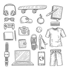 Teenage accessories young person stuff elements vector