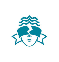 The head of a woman with blindfolded eyes vector