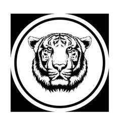 tiger face tattoo wild line art with circle vector image