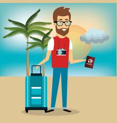 traveler man avatar character vector image
