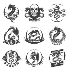 Vintage monochrome dragon tattoo labels set vector