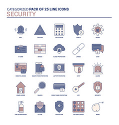 vintage security icon set - 25 flat line icon set vector image