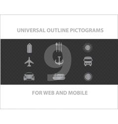 Web universal outline symbols vector image