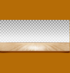 wooden floor with transparent wall vector image