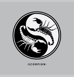 Ying yang scorpion tattoo vector