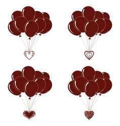 Balloons bunches silhouette set vector image vector image