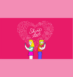 couple on mobiles internet love concept art vector image vector image