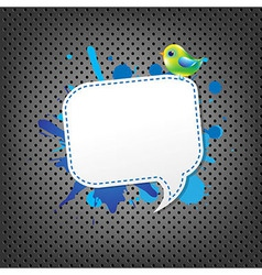 Metal Background With Speech Bubble And Bird vector image