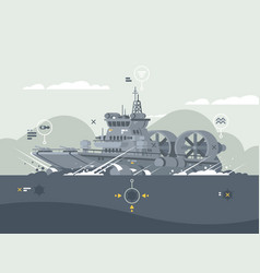 military hovercraft armed vector image
