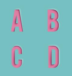 paper cutout letters realistic 3d template design vector image
