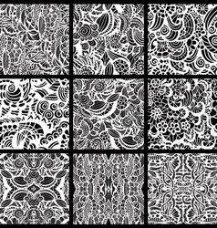 Set of nine hand-drawn seamless patterns vector image vector image