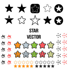 set of star icons isolated on vector image