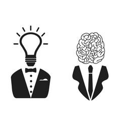 2 intelligent people head icon vector image