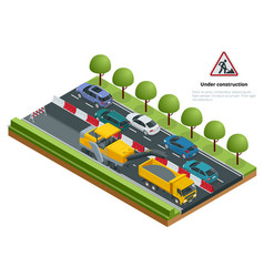 Isometric traffic on the road road repairs vector