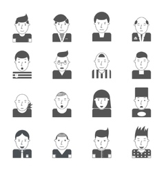 Man Faces Icons vector image vector image
