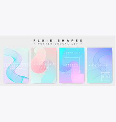 poster covers set with fluid shapes vector image
