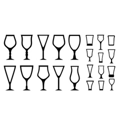 set isolated alcohol glass icons vector image vector image