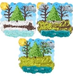 Spring round pixels art vector image vector image