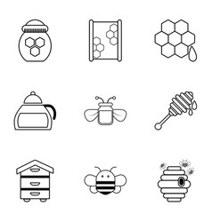 apiculture equipment icons set outline style vector image vector image