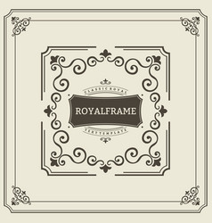 Frame template vintage ornament greeting vector