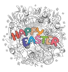 Happy Easter isolated on black and white doodle vector image
