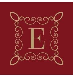 Monogram letter E Calligraphic ornament Gold vector image