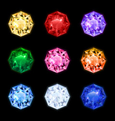realistic diamond gemstone icon set vector image