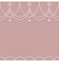 Seamless pearl ornament on a pink background vector image