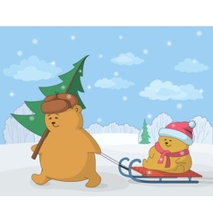 Teddy bears with a Christmas tree vector image vector image