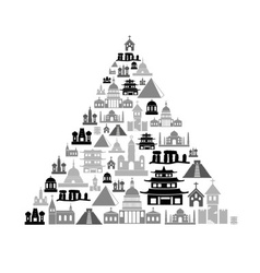 world religions types of temples icons in pyramid vector image vector image