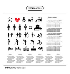 basic icon set for human life info graphic vector image
