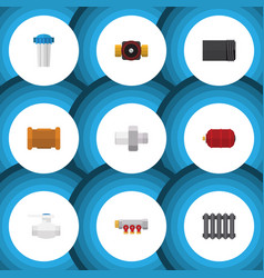 flat icon plumbing set of water filter tube pipe vector image vector image